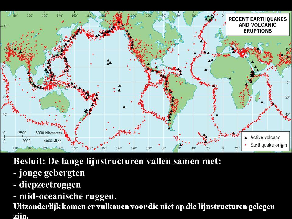 Besluit: De lange lijnstructuren vallen samen met: - jonge gebergten - diepzeetroggen - mid-oceanische ruggen. Uitzonderlijk komen er vulkanen voor di