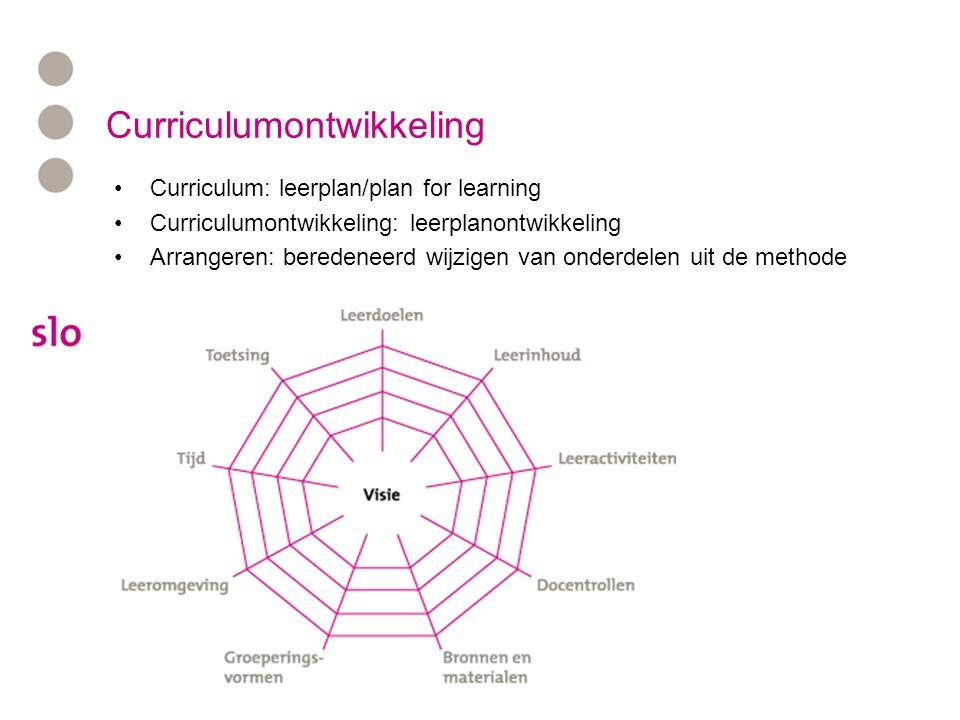 Curriculumontwikkeling Curriculum: leerplan/plan for learning Curriculumontwikkeling: leerplanontwikkeling Arrangeren: beredeneerd wijzigen van onderdelen uit de methode