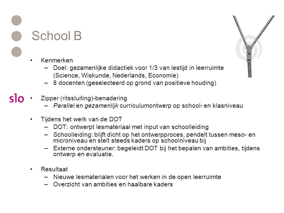 School B Kenmerken –Doel: gezamenlijke didactiek voor 1/3 van lestijd in leerruimte (Science, Wiskunde, Nederlands, Economie) –8 docenten (geselecteerd op grond van positieve houding) Zipper (ritssluiting)-benadering –Parallel en gezamenlijk curriculumontwerp op school- en klasniveau Tijdens het werk van de DOT –DOT: ontwerpt lesmateriaal met input van schoolleiding –Schoolleiding: blijft dicht op het ontwerpproces, pendelt tussen meso- en microniveau en stelt steeds kaders op schoolniveau bij –Externe ondersteuner: begeleidt DOT bij het bepalen van ambities, tijdens ontwerp en evaluatie.