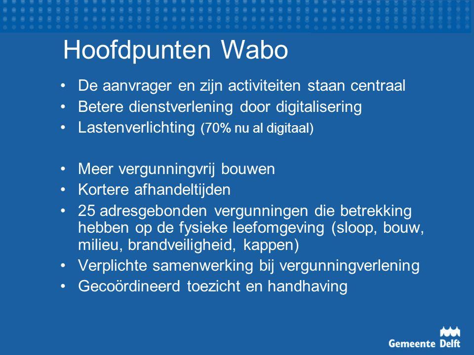 De aanvrager en zijn activiteiten staan centraal Betere dienstverlening door digitalisering Lastenverlichting (70% nu al digitaal) Meer vergunningvrij