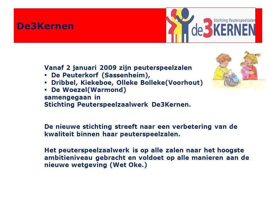 De3Kernen Vanaf 2 januari 2009 zijn peuterspeelzalen  De Peuterkorf (Sassenheim),  Dribbel, Kiekeboe, Olleke Bolleke(Voorhout) en  De Woezel(Warmond) samengegaan in Stichting Peuterspeelzaalwerk De3Kernen.