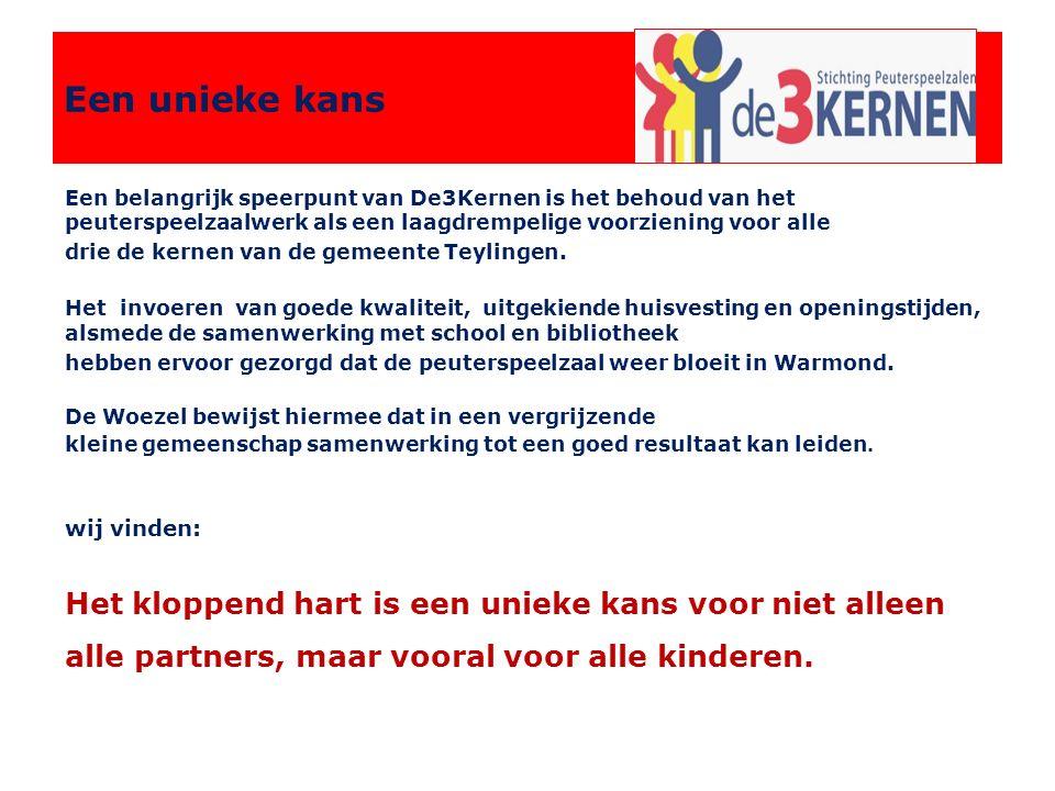 Een belangrijk speerpunt van De3Kernen is het behoud van het peuterspeelzaalwerk als een laagdrempelige voorziening voor alle drie de kernen van de gemeente Teylingen.