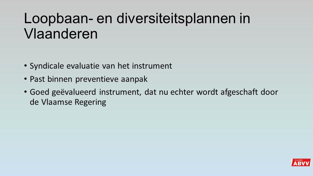 Loopbaan- en diversiteitsplannen in Vlaanderen Syndicale evaluatie van het instrument Past binnen preventieve aanpak Goed geëvalueerd instrument, dat