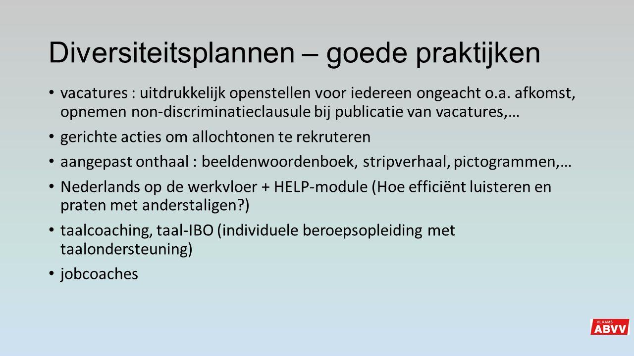 Diversiteitsplannen – goede praktijken vacatures : uitdrukkelijk openstellen voor iedereen ongeacht o.a. afkomst, opnemen non-discriminatieclausule bi