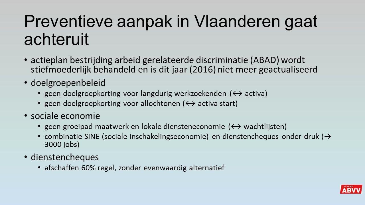 Preventieve aanpak in Vlaanderen gaat achteruit actieplan bestrijding arbeid gerelateerde discriminatie (ABAD) wordt stiefmoederlijk behandeld en is d