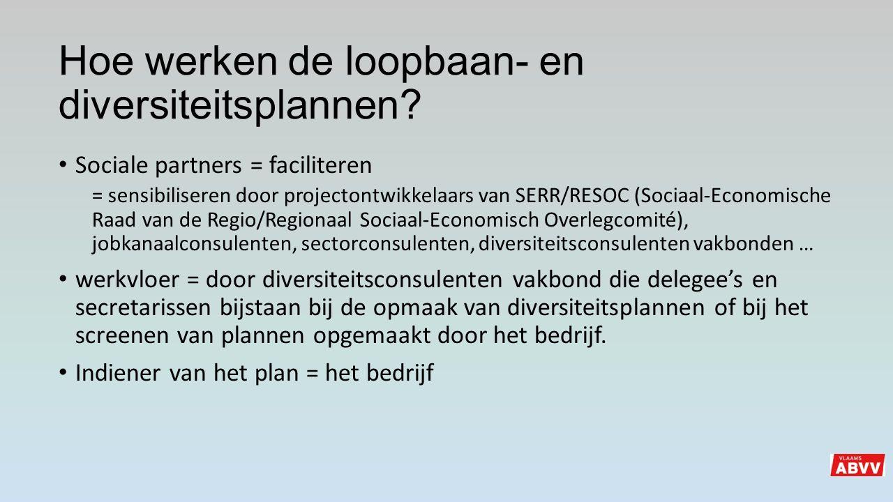 Sociale partners = faciliteren = sensibiliseren door projectontwikkelaars van SERR/RESOC (Sociaal-Economische Raad van de Regio/Regionaal Sociaal-Econ