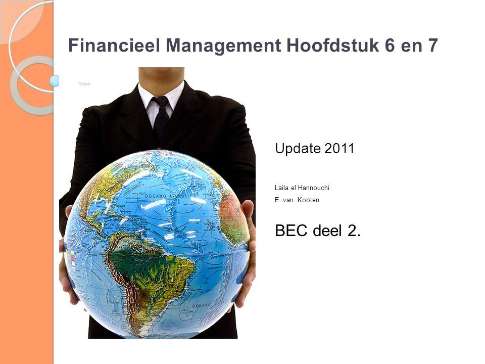 Financieel Management Hoofdstuk 6 en 7 Update 2011 Laila el Hannouchi E. van Kooten BEC deel 2.