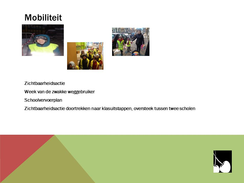 Mobiliteit Zichtbaarheidsactie Week van de zwakke weggebruiker Schoolvervoerplan Zichtbaarheidsactie doortrekken naar klasuitstappen, oversteek tussen twee scholen
