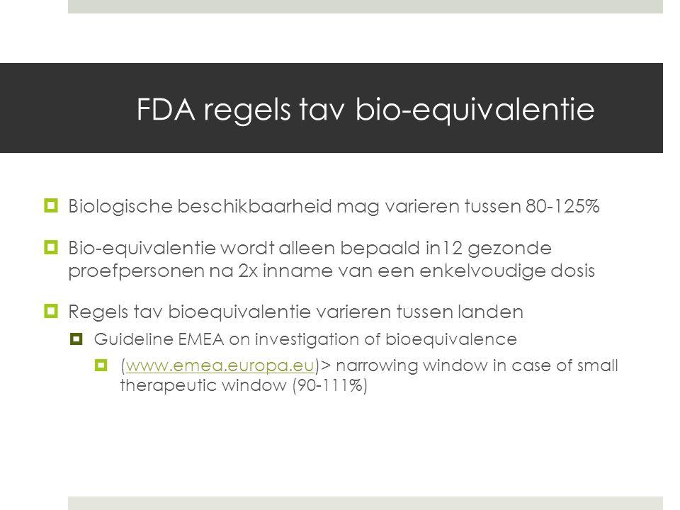 FDA regels tav bio-equivalentie  Biologische beschikbaarheid mag varieren tussen 80-125%  Bio-equivalentie wordt alleen bepaald in12 gezonde proefpersonen na 2x inname van een enkelvoudige dosis  Regels tav bioequivalentie varieren tussen landen  Guideline EMEA on investigation of bioequivalence  (www.emea.europa.eu)> narrowing window in case of small therapeutic window (90-111%)www.emea.europa.eu