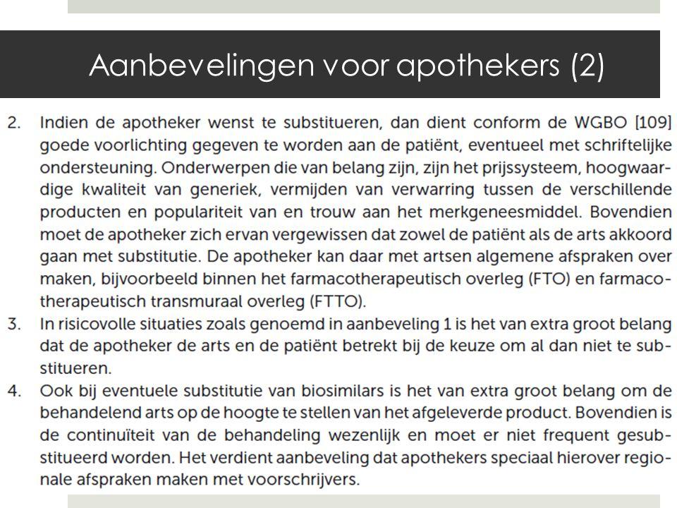 Aanbevelingen voor apothekers (2)