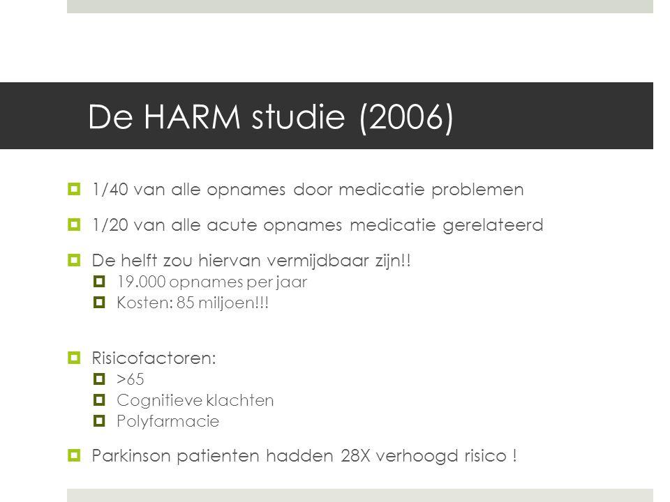 De HARM studie (2006)  1/40 van alle opnames door medicatie problemen  1/20 van alle acute opnames medicatie gerelateerd  De helft zou hiervan vermijdbaar zijn!.