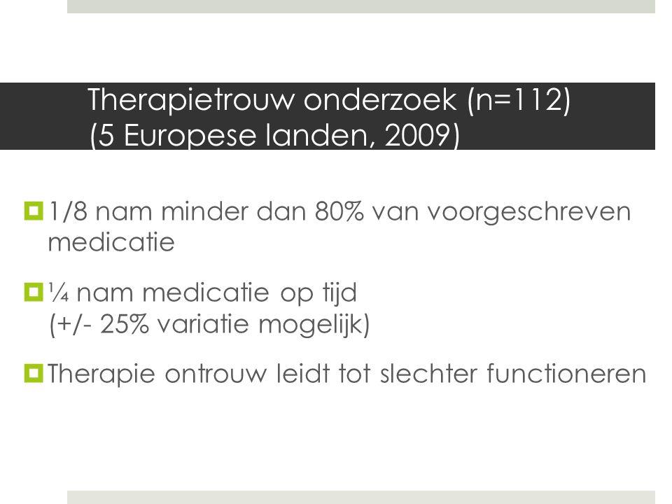 Therapietrouw onderzoek (n=112) (5 Europese landen, 2009)  1/8 nam minder dan 80% van voorgeschreven medicatie  ¼ nam medicatie op tijd (+/- 25% variatie mogelijk)  Therapie ontrouw leidt tot slechter functioneren