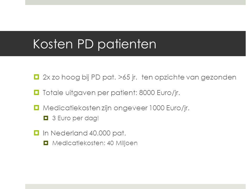 Kosten PD patienten  2x zo hoog bij PD pat. >65 jr.