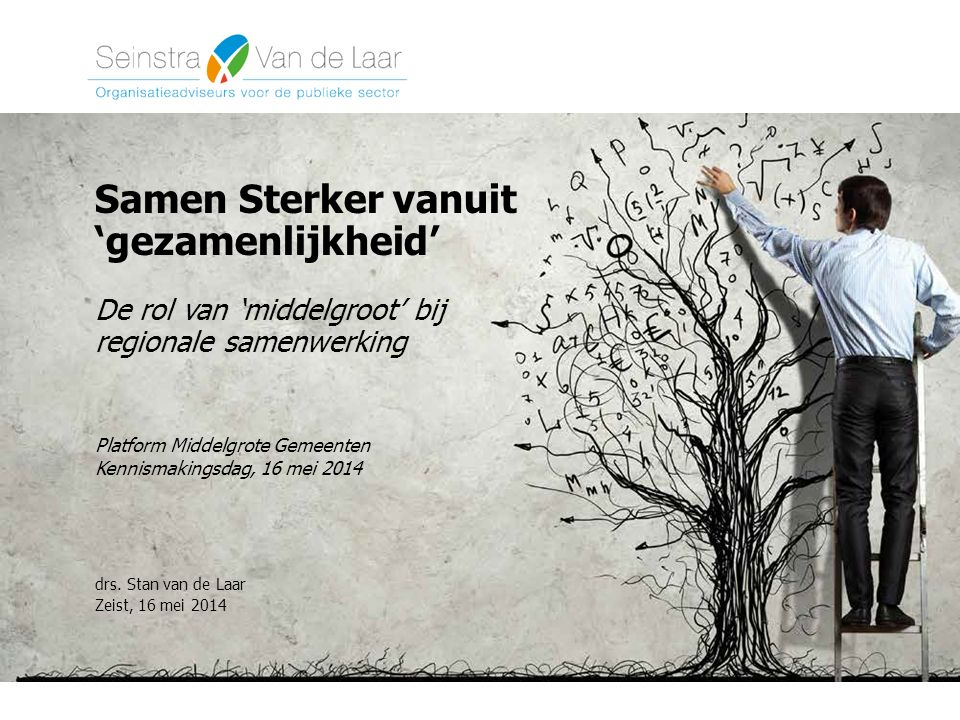 Samen Sterker vanuit 'gezamenlijkheid' De rol van 'middelgroot' bij regionale samenwerking Platform Middelgrote Gemeenten Kennismakingsdag, 16 mei 2014 drs.