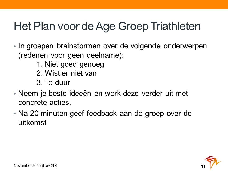 Het Plan voor de Age Groep Triathleten In groepen brainstormen over de volgende onderwerpen (redenen voor geen deelname): 1.