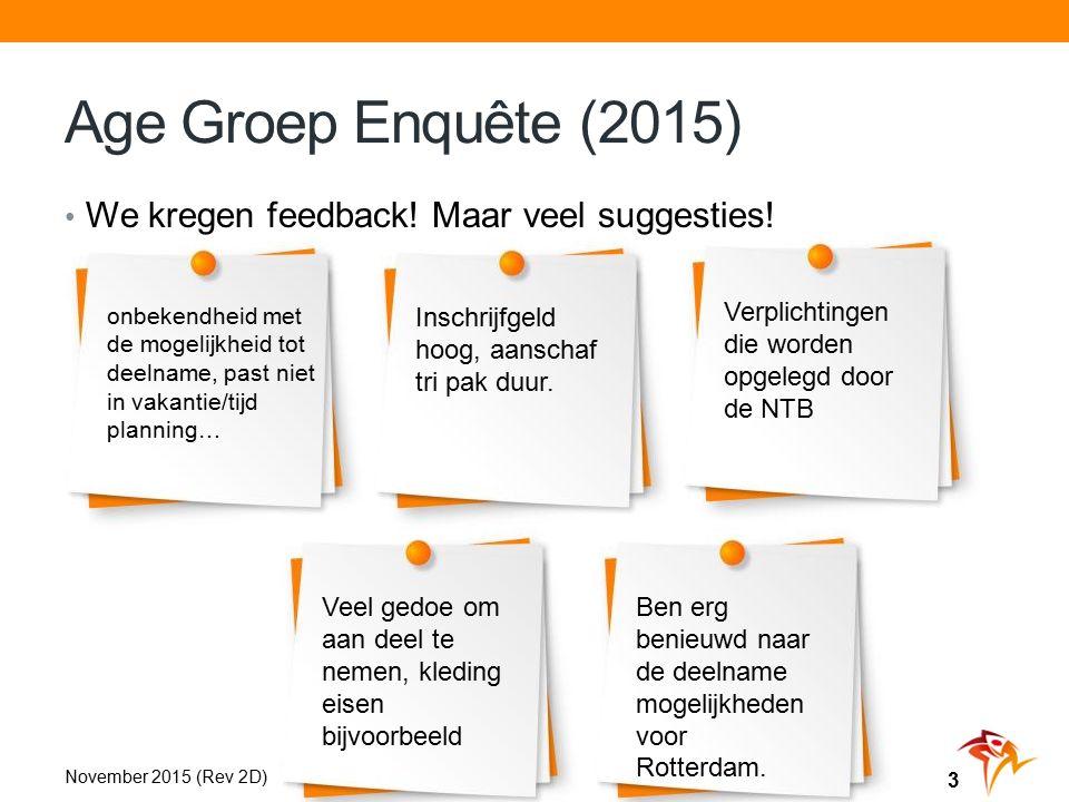 Age Groep Enquête (2015) We kregen feedback. Maar veel suggesties.