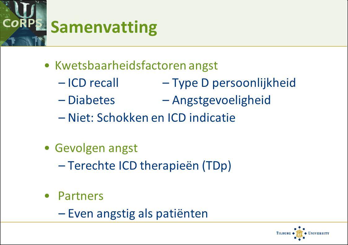Samenvatting Kwetsbaarheidsfactoren angst –ICD recall– Type D persoonlijkheid –Diabetes– Angstgevoeligheid –Niet: Schokken en ICD indicatie Gevolgen a