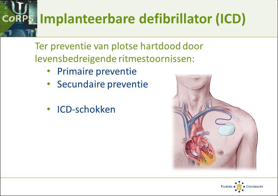 Aanpassing aan een ICD (angst) ICD indicatie Reanimatie Levensbedreigende ziekte ICD implantatie zelf Lokale verdoving Opwekken en beëindigen ritmestoornissen Onvoorspelbaarheid van de ritmestoornissen ICD schokken