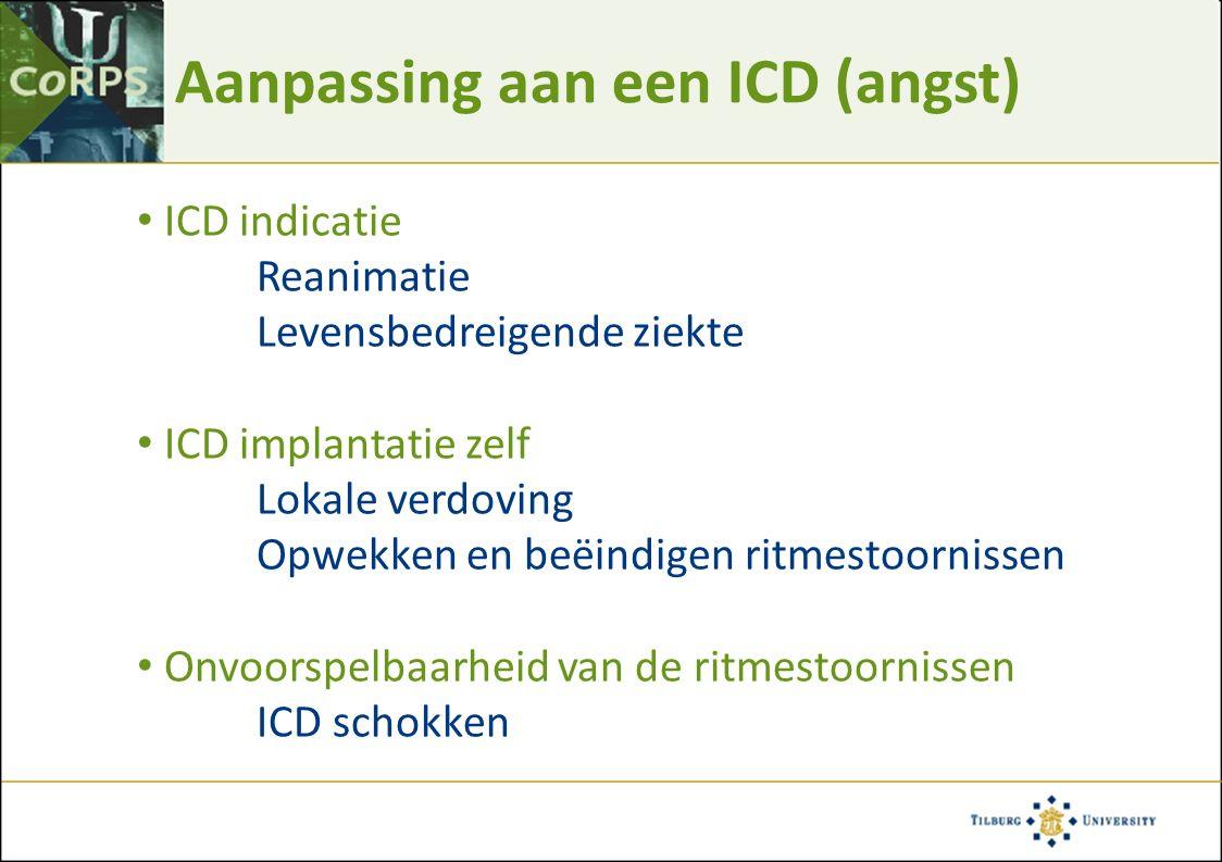 Aanpassing aan een ICD (angst) ICD indicatie Reanimatie Levensbedreigende ziekte ICD implantatie zelf Lokale verdoving Opwekken en beëindigen ritmesto
