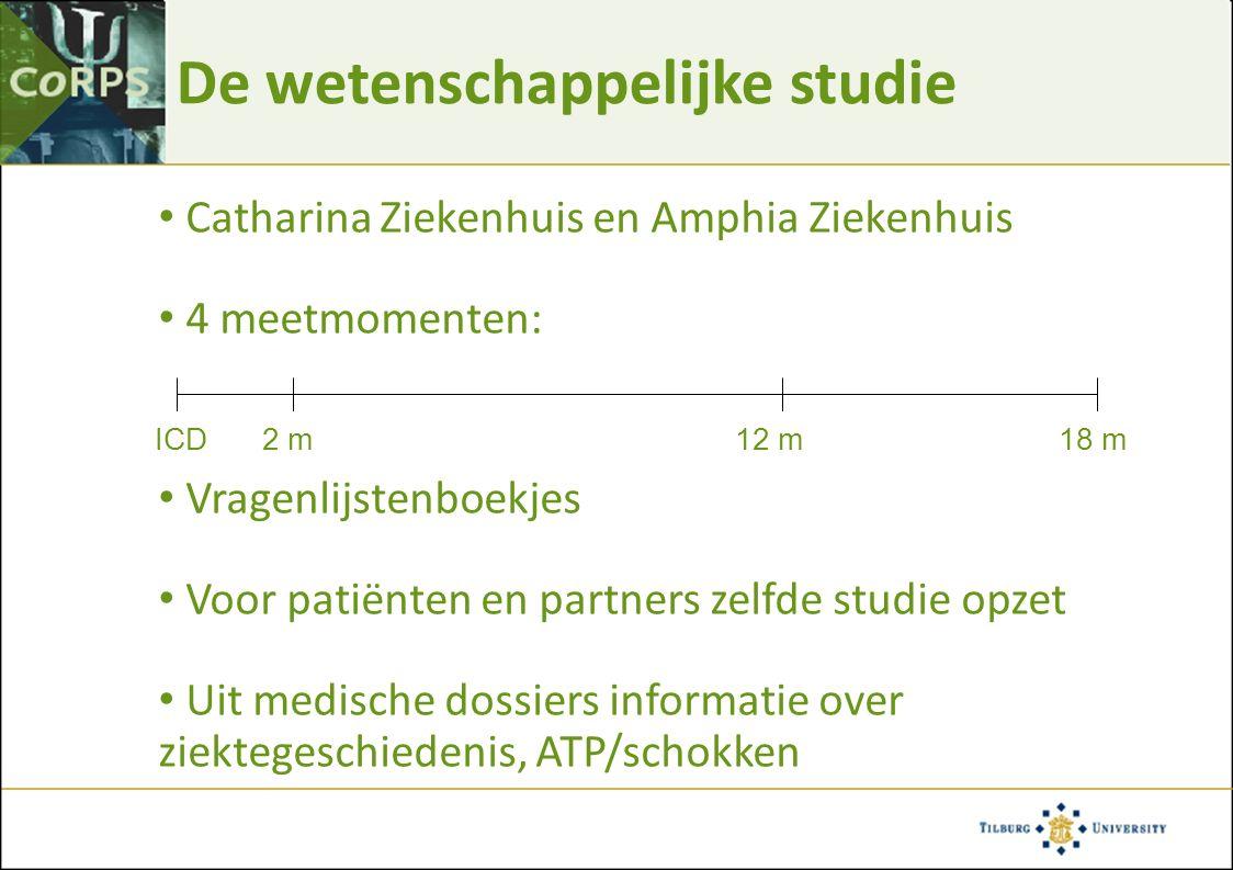 De wetenschappelijke studie Catharina Ziekenhuis en Amphia Ziekenhuis 4 meetmomenten: Vragenlijstenboekjes Voor patiënten en partners zelfde studie op