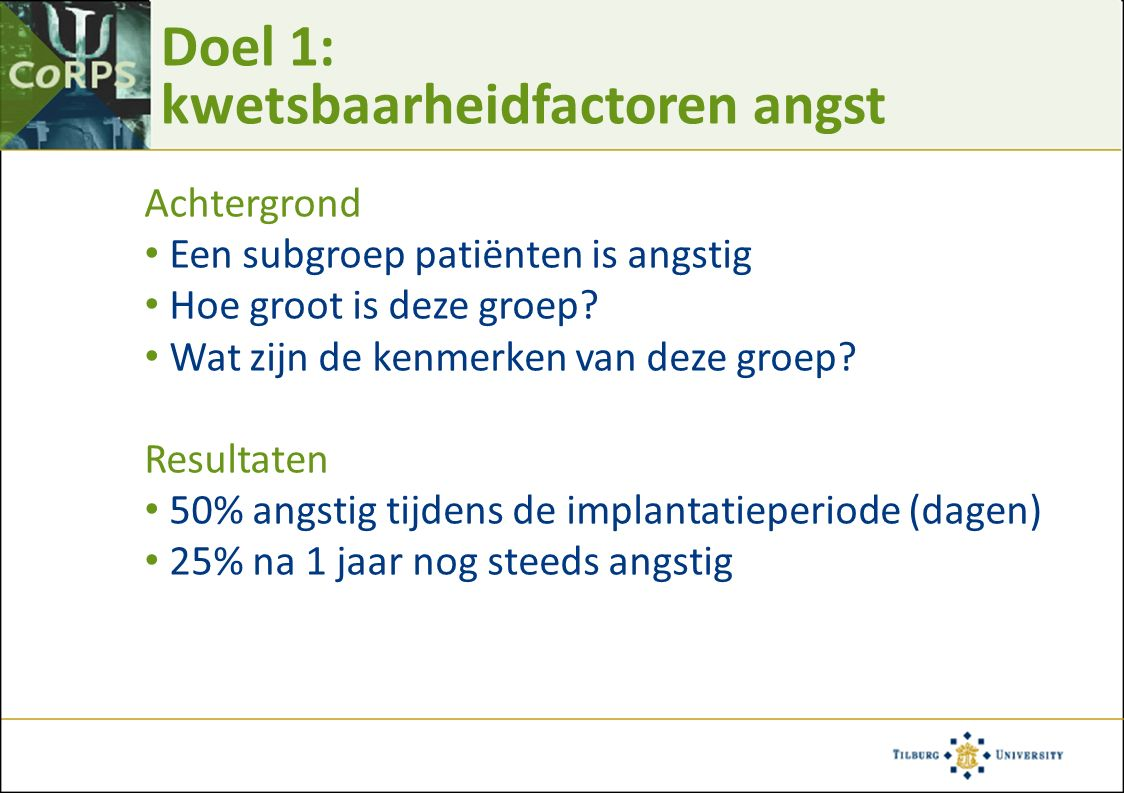 … kwetsbaarheidsfactoren vervolgd Kwetsbaarheidsfactoren: 1) ICD recall Van den Broek et al., PACE 2006;29:953-956 N = 33 Cut-off  56 op STAI 6.1% vs.