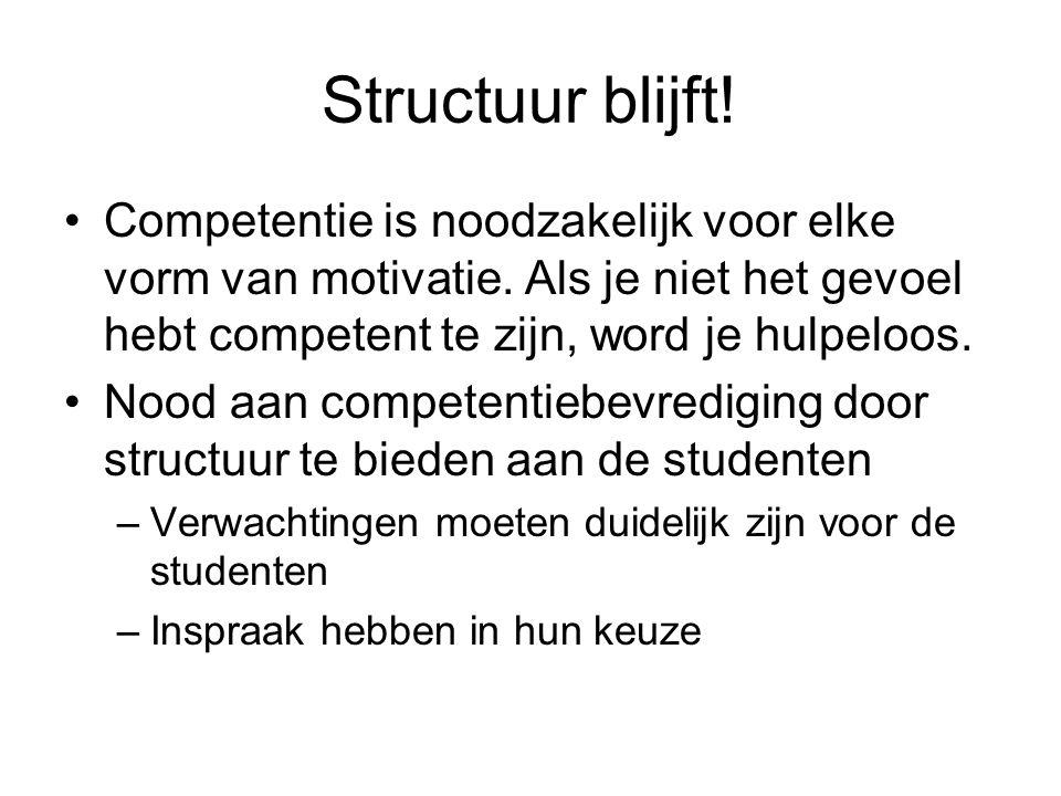 Structuur blijft! Competentie is noodzakelijk voor elke vorm van motivatie. Als je niet het gevoel hebt competent te zijn, word je hulpeloos. Nood aan
