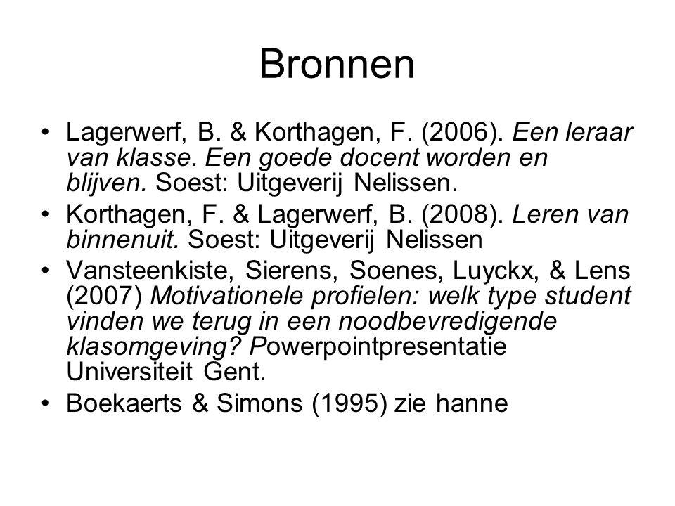 Bronnen Lagerwerf, B. & Korthagen, F. (2006). Een leraar van klasse. Een goede docent worden en blijven. Soest: Uitgeverij Nelissen. Korthagen, F. & L