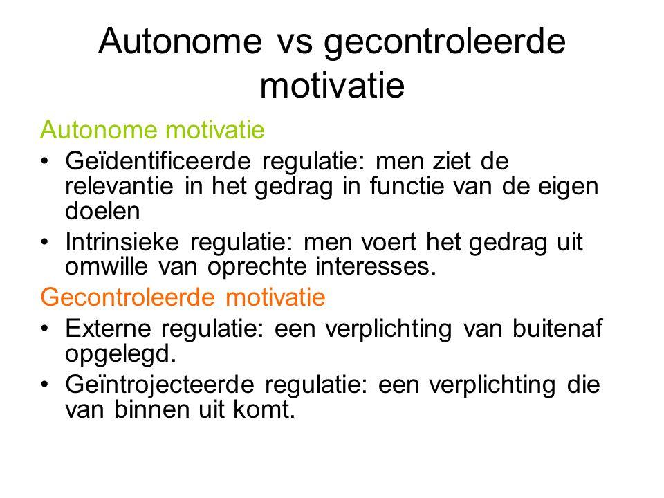 Autonome vs gecontroleerde motivatie Autonome motivatie Geïdentificeerde regulatie: men ziet de relevantie in het gedrag in functie van de eigen doele