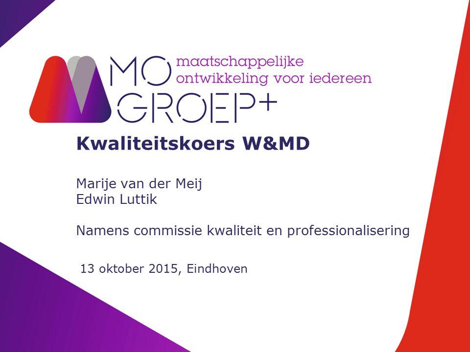 Kwaliteitskoers W&MD Marije van der Meij Edwin Luttik Namens commissie kwaliteit en professionalisering 13 oktober 2015, Eindhoven