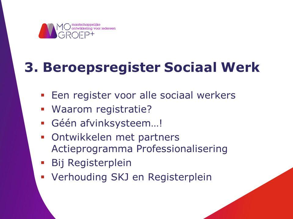 3. Beroepsregister Sociaal Werk  Een register voor alle sociaal werkers  Waarom registratie.