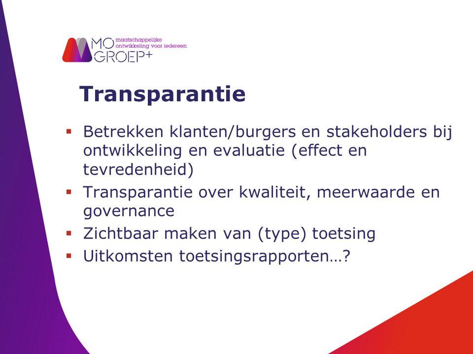 Transparantie  Betrekken klanten/burgers en stakeholders bij ontwikkeling en evaluatie (effect en tevredenheid)  Transparantie over kwaliteit, meerwaarde en governance  Zichtbaar maken van (type) toetsing  Uitkomsten toetsingsrapporten…