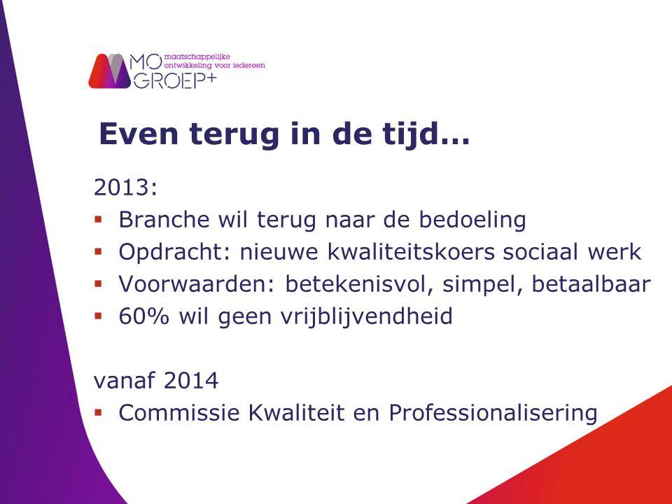 Even terug in de tijd… 2013:  Branche wil terug naar de bedoeling  Opdracht: nieuwe kwaliteitskoers sociaal werk  Voorwaarden: betekenisvol, simpel, betaalbaar  60% wil geen vrijblijvendheid vanaf 2014  Commissie Kwaliteit en Professionalisering