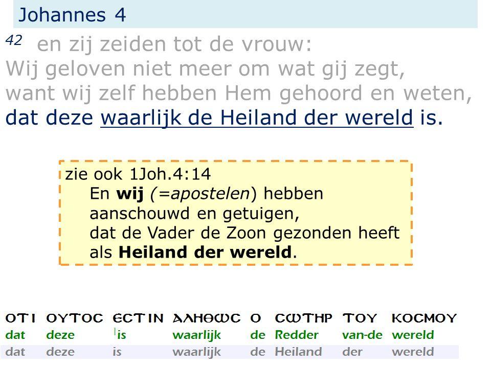Johannes 4 42 en zij zeiden tot de vrouw: Wij geloven niet meer om wat gij zegt, want wij zelf hebben Hem gehoord en weten, dat deze waarlijk de Heila