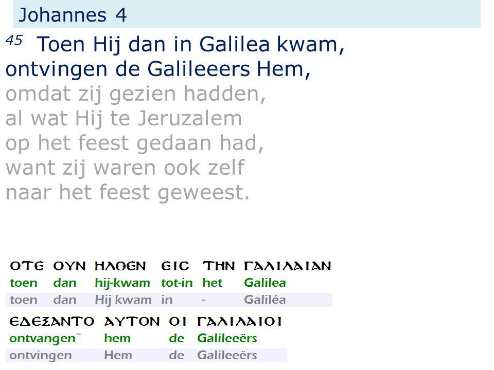 Johannes 4 45 Toen Hij dan in Galilea kwam, ontvingen de Galileeers Hem, omdat zij gezien hadden, al wat Hij te Jeruzalem op het feest gedaan had, wan