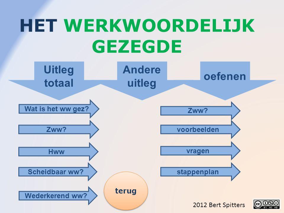 HET WERKWOORDELIJK GEZEGDE 2012 Bert Spitters Uitleg totaal Andere uitleg oefenen Wat is het ww gez.