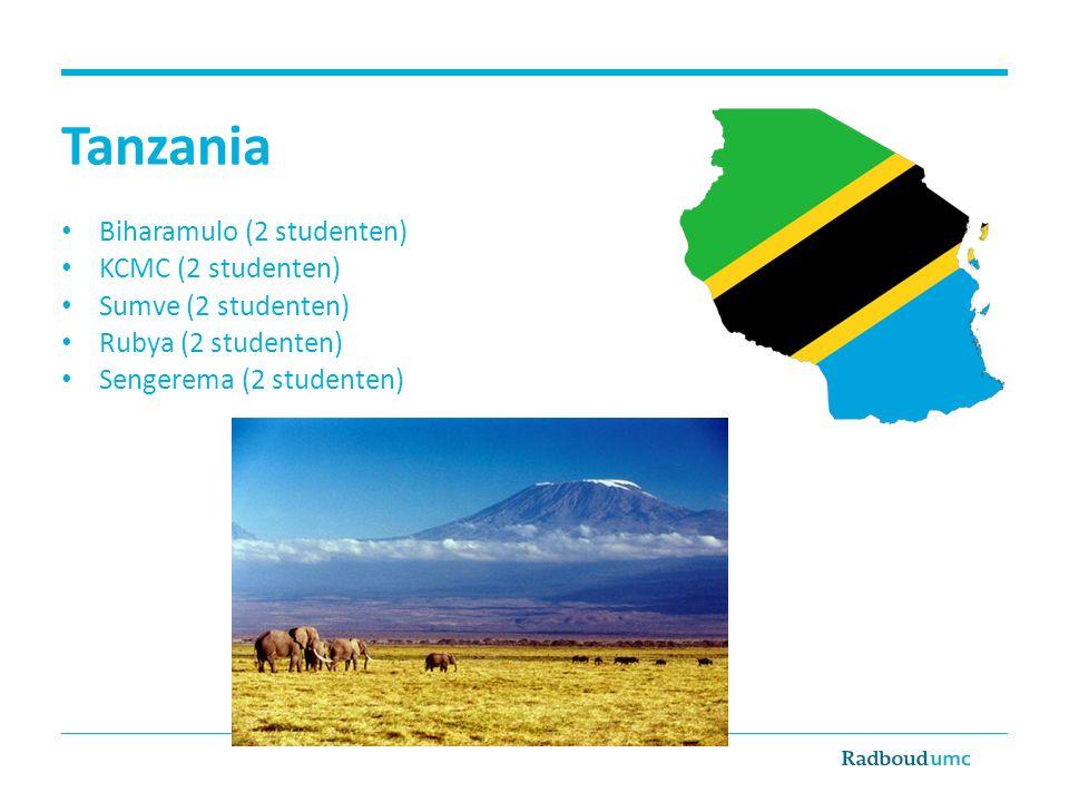 Tanzania Biharamulo (2 studenten) KCMC (2 studenten) Sumve (2 studenten) Rubya (2 studenten) Sengerema (2 studenten)
