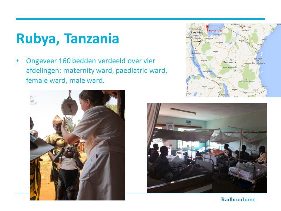 Rubya, Tanzania Ongeveer 160 bedden verdeeld over vier afdelingen: maternity ward, paediatric ward, female ward, male ward.