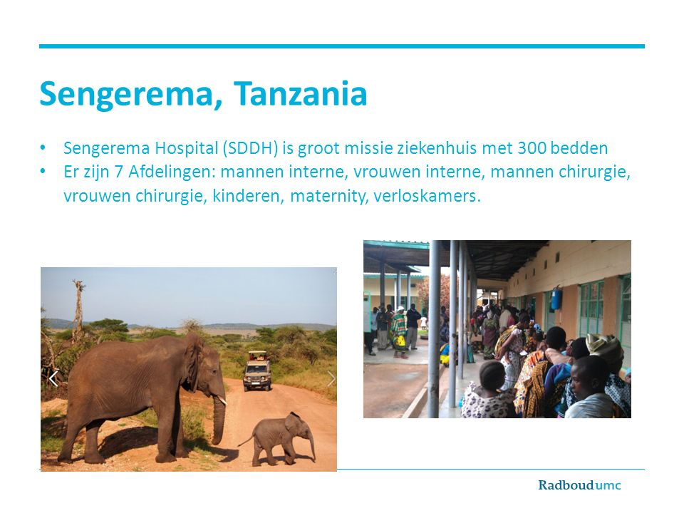 Sengerema, Tanzania Sengerema Hospital (SDDH) is groot missie ziekenhuis met 300 bedden Er zijn 7 Afdelingen: mannen interne, vrouwen interne, mannen