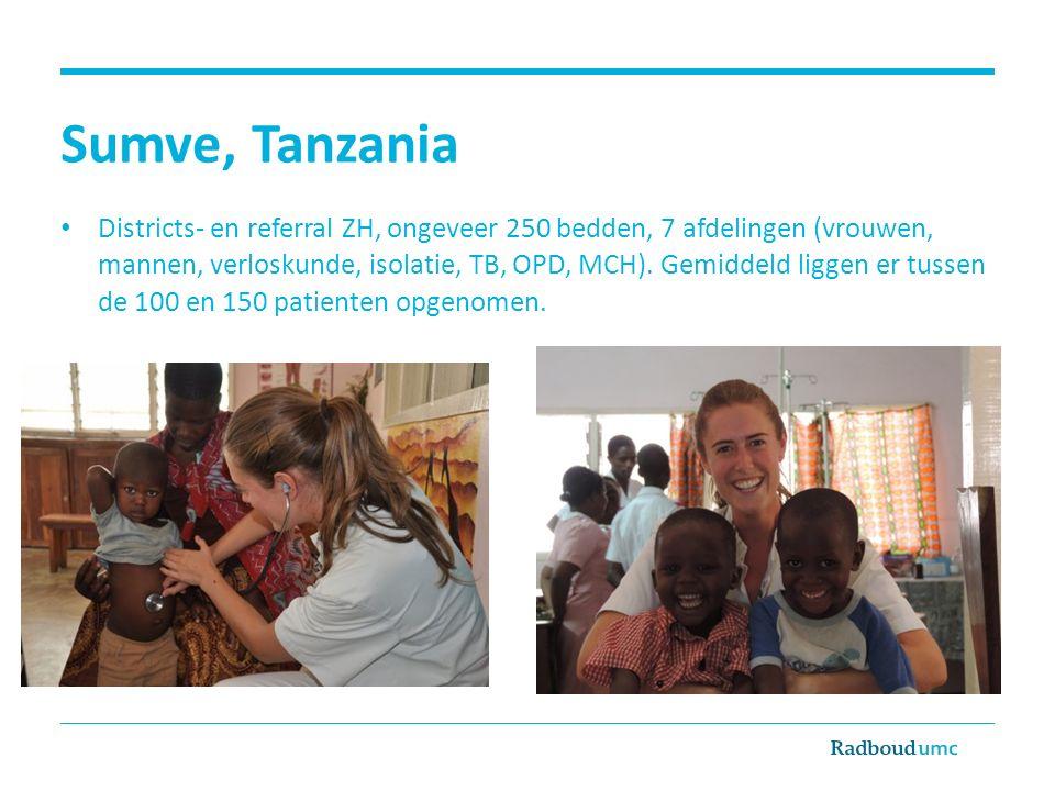 Sumve, Tanzania Districts- en referral ZH, ongeveer 250 bedden, 7 afdelingen (vrouwen, mannen, verloskunde, isolatie, TB, OPD, MCH). Gemiddeld liggen