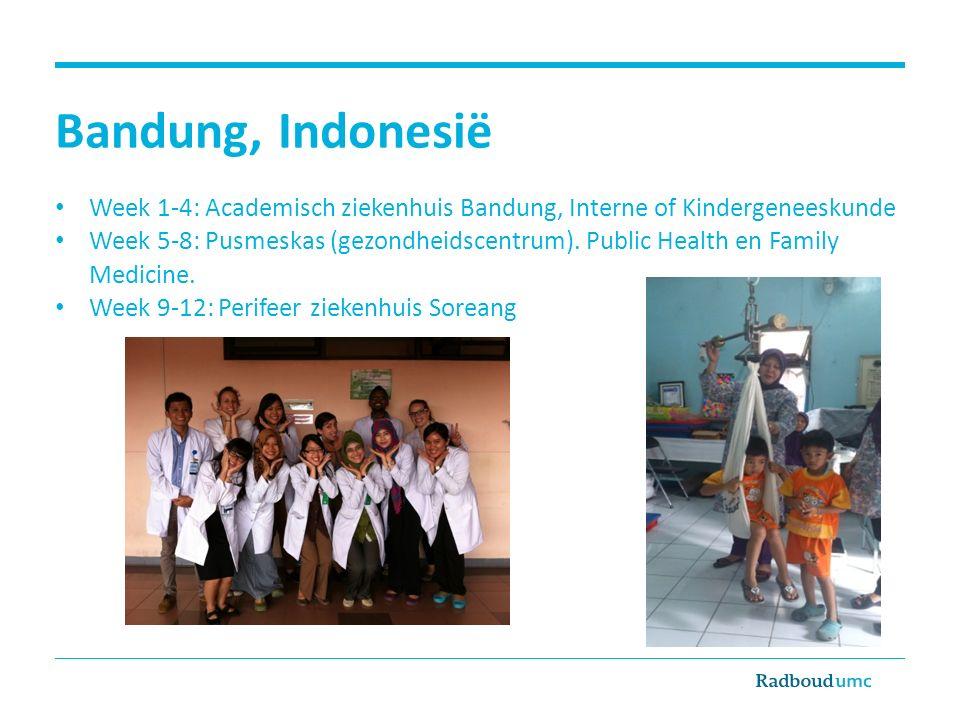 Bandung, Indonesië Week 1-4: Academisch ziekenhuis Bandung, Interne of Kindergeneeskunde Week 5-8: Pusmeskas (gezondheidscentrum). Public Health en Fa