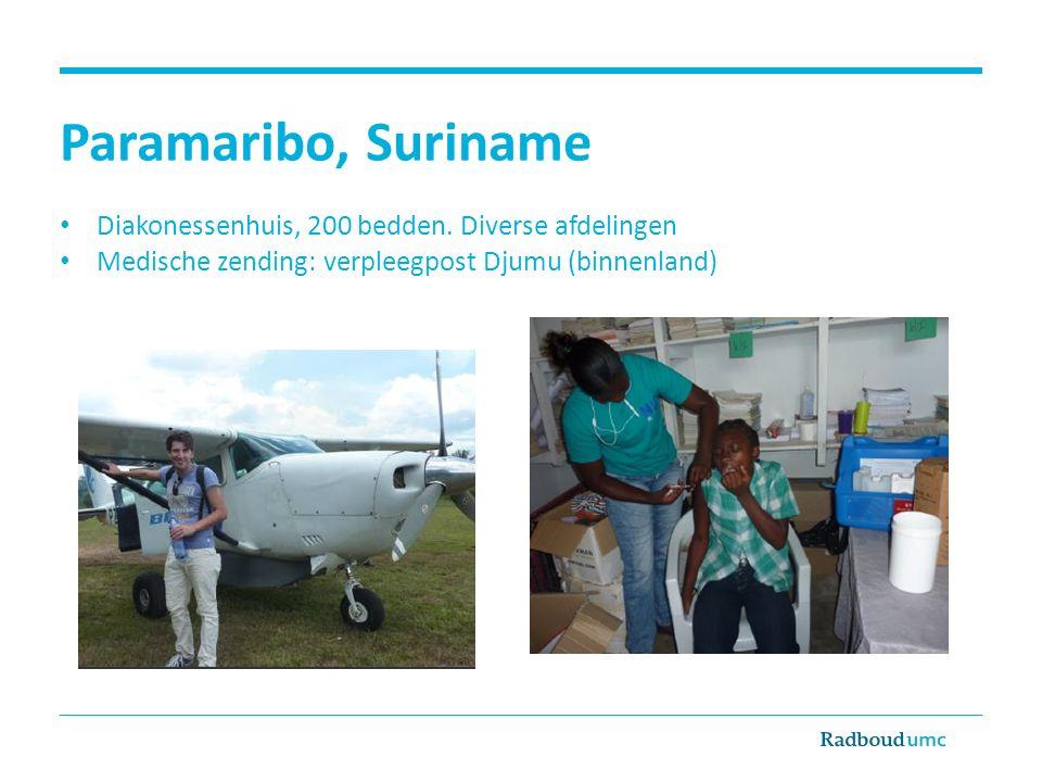 Paramaribo, Suriname Diakonessenhuis, 200 bedden. Diverse afdelingen Medische zending: verpleegpost Djumu (binnenland)