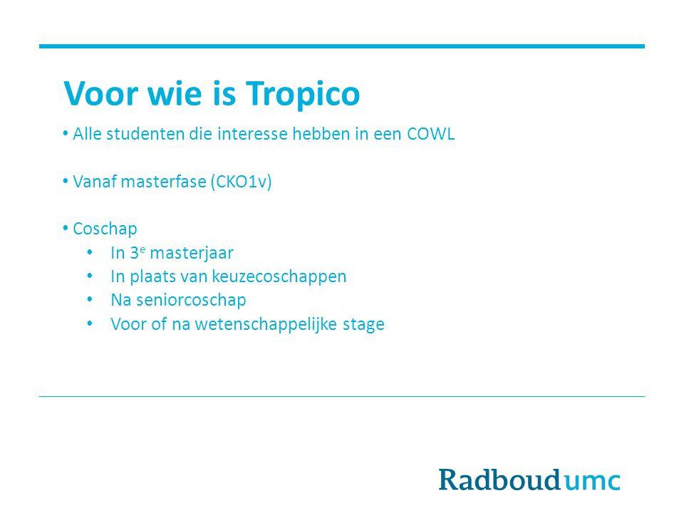Voor wie is Tropico Alle studenten die interesse hebben in een COWL Vanaf masterfase (CKO1v) Coschap In 3 e masterjaar In plaats van keuzecoschappen N