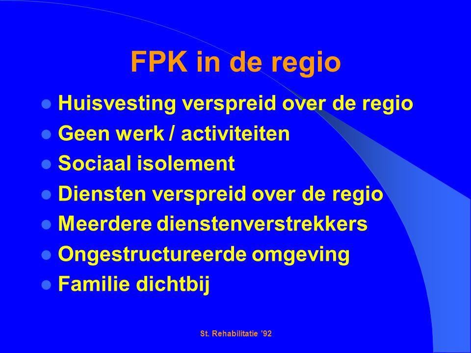FPK in de regio Huisvesting verspreid over de regio Geen werk / activiteiten Sociaal isolement Diensten verspreid over de regio Meerdere dienstenverstrekkers Ongestructureerde omgeving Familie dichtbij