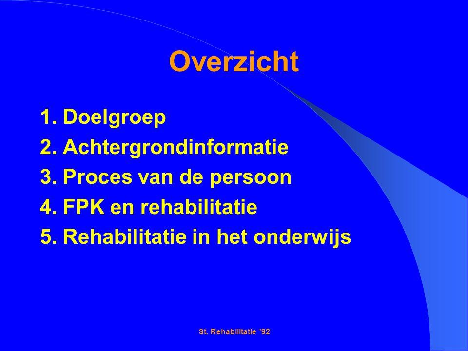 St. Rehabilitatie 92 Overzicht 1. Doelgroep 2. Achtergrondinformatie 3.