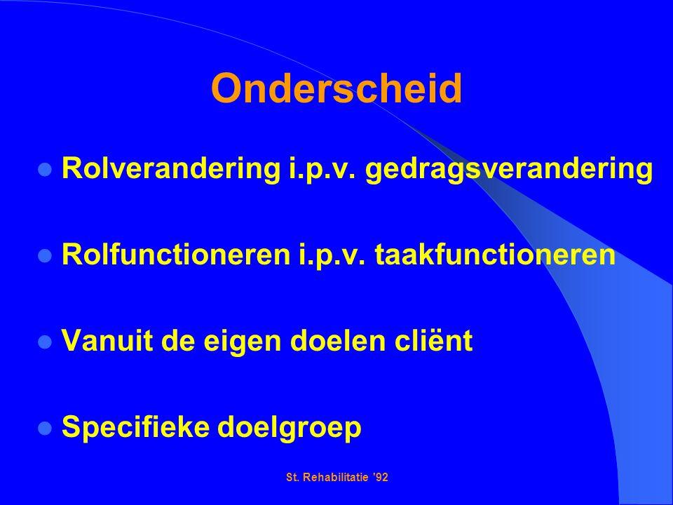 St. Rehabilitatie 92 Onderscheid Rolverandering i.p.v.
