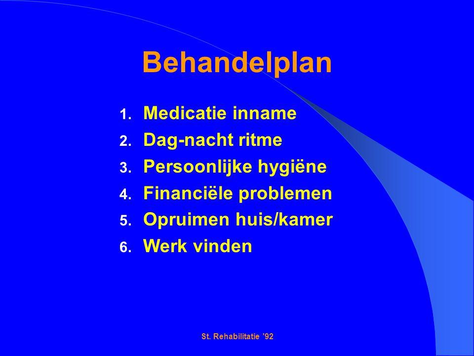 St. Rehabilitatie 92 Behandelplan 1. Medicatie inname 2.