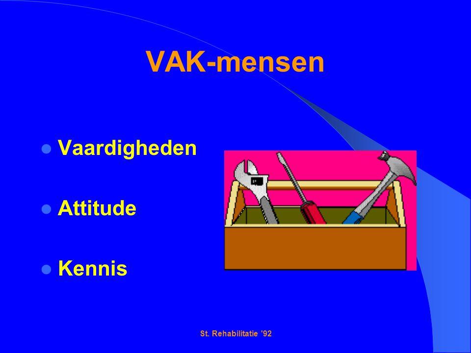 St. Rehabilitatie 92 VAK-mensen Vaardigheden Attitude Kennis