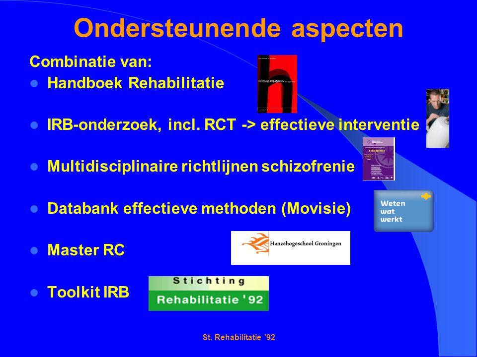 St. Rehabilitatie '92 Ondersteunende aspecten Combinatie van: Handboek Rehabilitatie IRB-onderzoek, incl. RCT -> effectieve interventie Multidisciplin