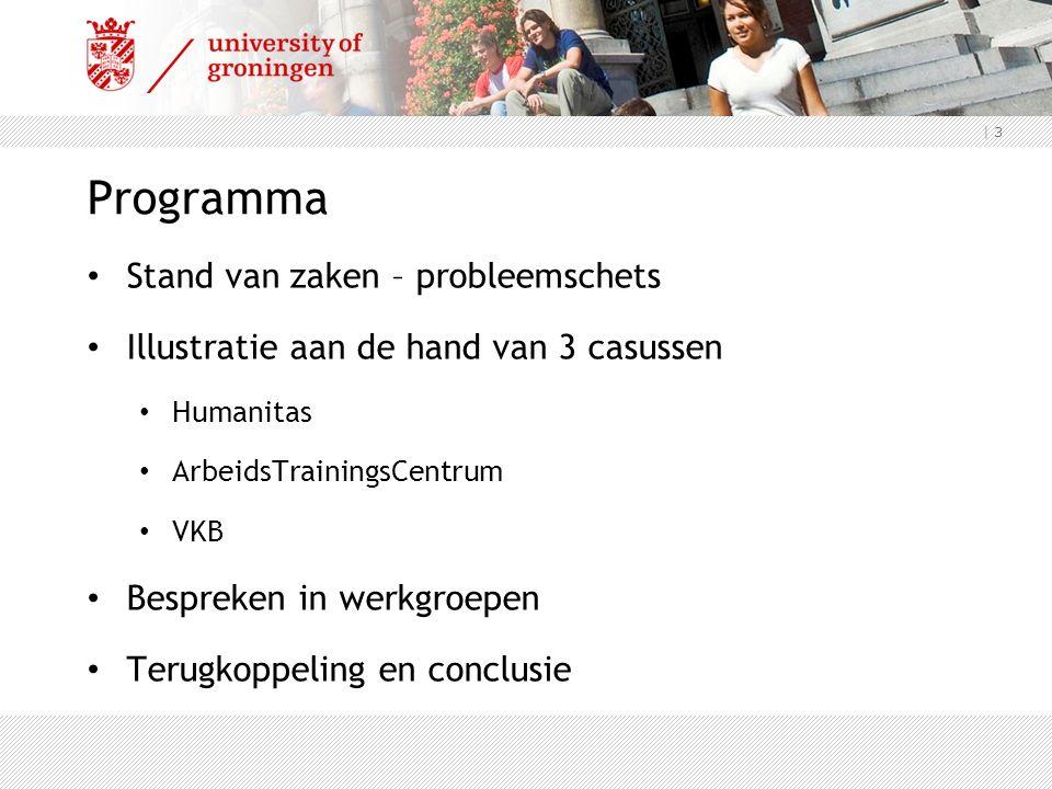 | 3 Programma Stand van zaken – probleemschets Illustratie aan de hand van 3 casussen Humanitas ArbeidsTrainingsCentrum VKB Bespreken in werkgroepen Terugkoppeling en conclusie