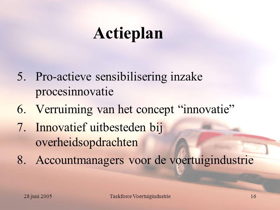 28 juni 2005Taskforce Voertuigindustrie16 Actieplan 5.Pro-actieve sensibilisering inzake procesinnovatie 6.Verruiming van het concept innovatie 7.Innovatief uitbesteden bij overheidsopdrachten 8.Accountmanagers voor de voertuigindustrie